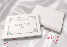 Personalised A5 White Linen Finish Wedding Guest Book - Letterpress Grey