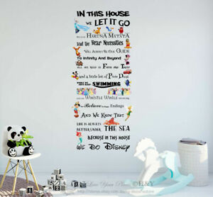 """We Do Disney"" Kids Wall Stickers Quote Nursery Decor Decal House Rule Art Mural"