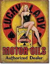 Pin Up Girl Lucky Lady Motor Oil vintage rétro en métal étain signe garage bar Décoration