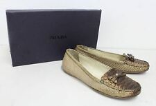 PRADA Ladies Tan Brown Python Skin Leather Bow Detail Loafer Shoes EU36 UK3.5