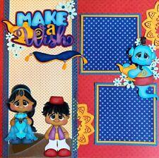 MAKE A WISH Aladdin Disney Paper Piecing 12x12 Premade Scrapbook Layout Page