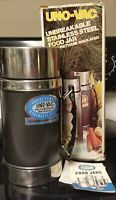 Vintage New in box Uno-Vac 20 oz. Unbreakable Stainless Steel Thermos Carcoal