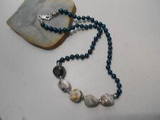 jasper& malachite beads necklace / silver clasp