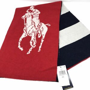 Polo Ralph Lauren Big White Pony Red Scarf 1967 Color Blocked Jacquard Knit
