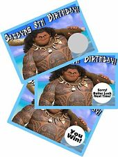 DISNEY MOANA MAUI SCRATCH OFF PARTY GAME CARDS BIRTHDAY FAVORS SCRATCH OFFS GAME