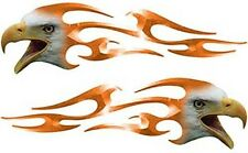 """Motorcycle Tank Screaming Eagle Head Flame Decals Orange 12"""" REFLECTIVE FL10"""