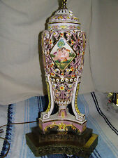 ANTIQUE CAPODIMONTE LAMP  PUTTI  CHERUBS 1830 - 1890 SIGNED CROWN N ITALY