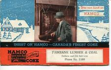 INK BLOTTER HAMCO CANADA'S FINEST DUSTLESS COKE FAIRBANK LUMBER & COAL ADVERTISE
