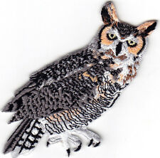 GREAT HORNED OWL- Iron On Patch Birds Noctural