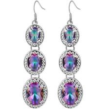 925 Silver MYSTICAL Topaz Natural Gemstone Birthstone Drop Dangle Hook Earrings