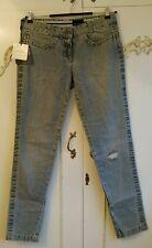 "Calvin Klein Ladies Light Blue Wash Distressed Tapered Leg Jeans Size W 30"" BNWT"