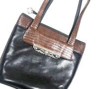Brighton Womens Vintage 90s Bag Purse  Black Brown Silver Leather Quality