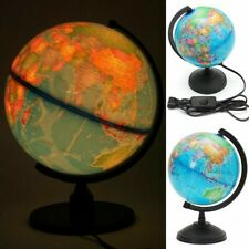 Terrestrial Earth Globe World Map LED Light Geography Education Toy With Stand