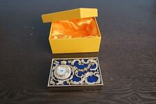 Faberge clock enamel with Swarovsky cristals business card holder