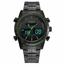 OHSEN Mens Sport Dress Military Black Analog Digital Alarm Date/Day Quartz Watch