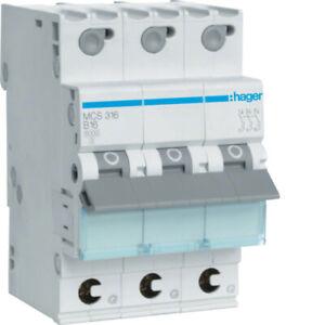 HAGER Automat Leitungsschutzschalter Sicherung C16 3polig MCS 316 MCS316