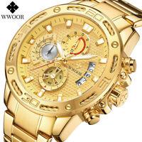 WWOOR Luxury Men's Gold Stainless Steel Quartz Watch Sports Chronograph Relogio