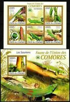 COMOROS  2009 Lizards Reptiles    MNH Set of 2 Miniature sheet  M/s.