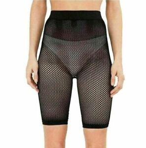 Womens Ladies High Waisted Fishnet Mesh Half Legging See Through Cycling Shorts