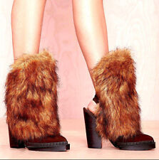 NEW NIB $242 JEFFREY CAMPBELL BROWN SHAGGY FAUX FUR OLEG BOOTIE SHOES BOOTS 5 35