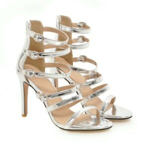 US4-13 Women High Heel Stiletto Peep toe Back zip Sandals Summer Party Shoes NEW