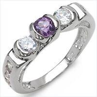 Damen Ring Gina, 925er Silber, 1,52 Kt. Amethyst und Zirkonia, Gr. 55