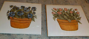 """Pair of potted pansy & tulips prints by Janet Oxford Couch, 6"""" x 6"""" square"""