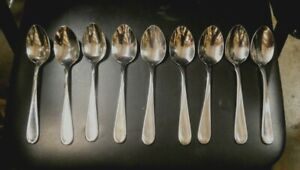 """ONEIDA Stainless Glossy FLIGHT RELIANCE Set Of 9 TEASPOONS 6 1/8"""" FREE SHIPPING"""