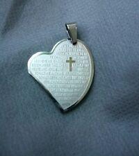 Anhänger Herz mit Kreuz und komplettes Vater Unser Edelstahl matt und Glanz Neu