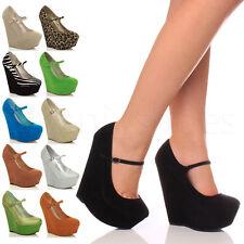 Mujeres zapatos de plataforma merceditas tacón alto cuña escarpines fiesta talla