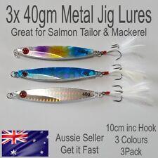 40g Fishing Lures Metal Slice Spoon Salmon Flathead Tailor Mackerel Lure Jig 3pc