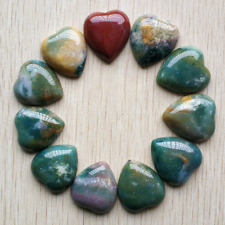10pcs Natural india agate heart Cab CABOCHON Stone Beads 25mm for Jewelry Making