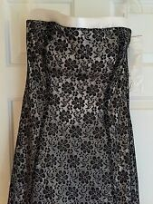 Onyx Nite Strapless White Full Length Gown Black Floral Lace Dress 10 NWT $216