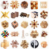 3D Wooden Kongming Lock Brain Teaser Kids Adults Intellectual Game Puzzle Toys