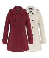 De La Crème - Women's Winter Jacket Ladies Faux Wool Double Breasted Hooded Coat