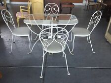 Vintage Wrought Iron Patio Set 2 tables 4 Chairs
