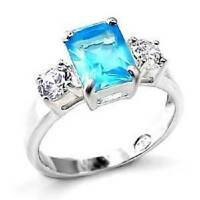 Ladies blue topaz ring three stone emerald cut cz sterling silver stamped OA457