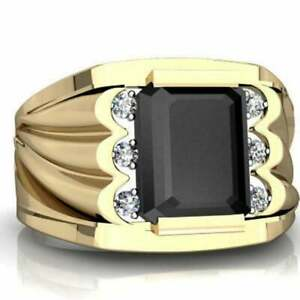Natural Black Onyx & Cz Ring in 925 Sterling Silver Gold Plated,Emerald Cut Ring