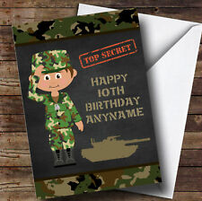 Green Boy Camo Army Personalised Children's Birthday Card
