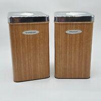 1950s Vintage Masterware Atomic Metal Kitchen Canisters Flour & Sugar Faux Wood