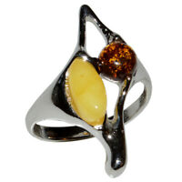 3.29g Authentic Baltic Amber 925 Sterling Silver Ring Jewelry N-A7366A