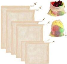 Reusable Produce Mesh Bags, 6 Pack Washable Organic Cotton Mesh Vegetables Bag
