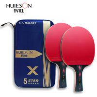 1 Pair Carbon Fiber Table Tennis Racket Ping Pong Paddle Bat Short Handle & Case