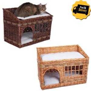 Wicker Basket Cat Den 2 Tier Pet kitten Bed Double Cushions Home Nap Brown Beige
