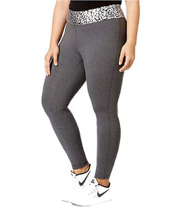 Material Girl Womens Active Plus Waist Crackle Printed Leggings Heather Charcoal