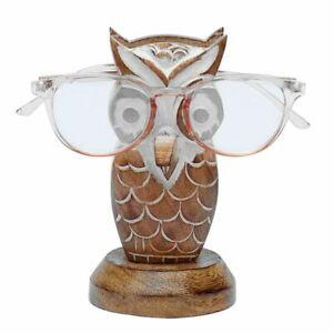 Shabby Chic Wooden Hand Carved Wise Owl Desk Specs Glasses Holder Hanger Case