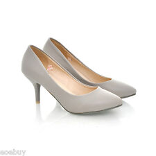 Women's Mid Heel Pointed Shoes Synthetic Leather Pumps Classics UK Sz 1~10 D100