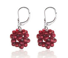 Sterling Silver Cranberry Pearl Leverback Earrings Snowball .925 & Rice Pearls