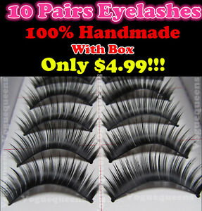 10 Pairs High Quality Long Thick False Eyelashes Extensions 128#