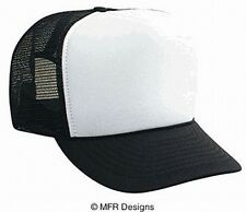 BLANK White Front Black Mesh Snap Back Cap Trucker Mesh Hat